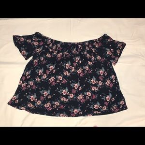 Short sleeve floral off the shoulder top